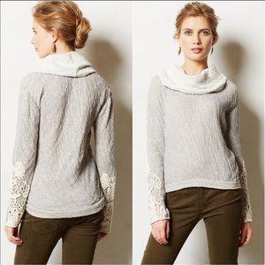 Anthropologie Bordeaux Lace Cowl Neck Sweatshirt